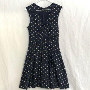 Anthropologie Maeve Navy Polka Dot Dress